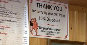 Local Louisiana Restaurant Offers Discount for Carrying a Gun