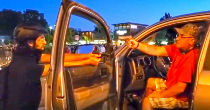 [VIDEO] Protester And Driver Face Off With Guns Pointed At Each Other In Oregon